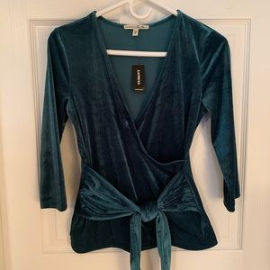 EXPRESS Ribbed Velvet Wrap Front Tee Size S Teal